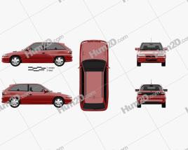 Opel Astra (F) 3-door GSi 1991 car clipart