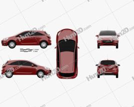Opel Corsa (E) 3-door 2014 car clipart