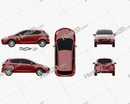 Opel Corsa (E) 5-door 2014 car clipart