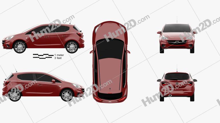 Opel Corsa (E) 5-door 2014 Clipart Image