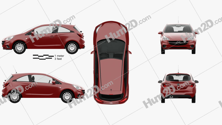 Opel Corsa (E) 3-door with HQ interior 2014 Clipart Image