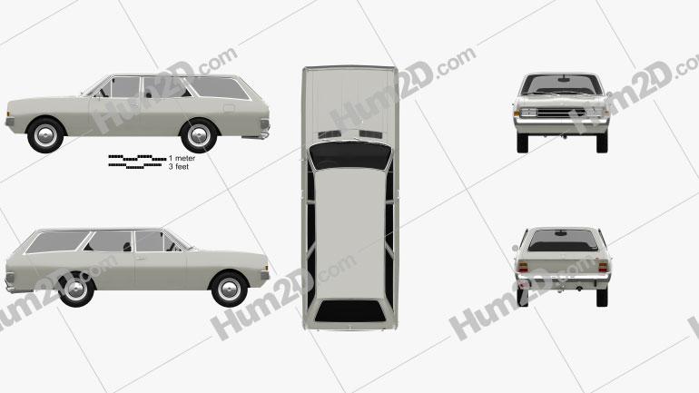 Opel Rekord (C) Caravan 1967 car clipart