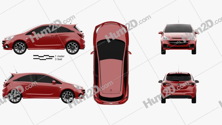 Opel Corsa E OPC 2015 Clipart Image