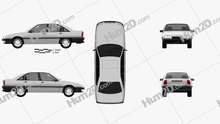 Opel Omega (A) 1987 car clipart
