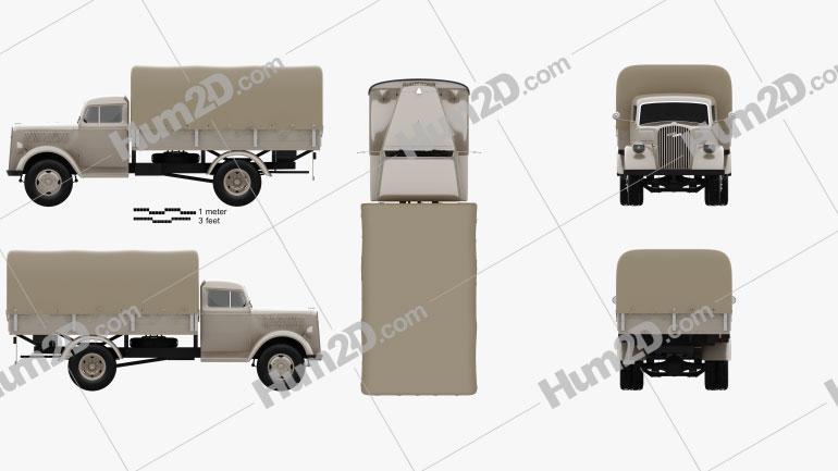 Opel Blitz Flatbed Truck 1940 clipart