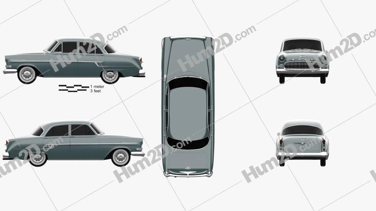 Opel Kapitan 1956 car clipart