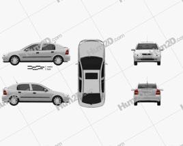 Opel Astra G liftback 1998 car clipart