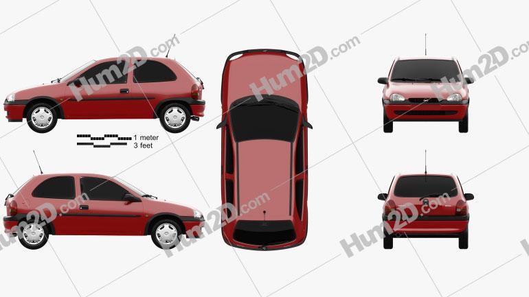 Opel Corsa (B) 3-door hatchback 1998 Clipart Image