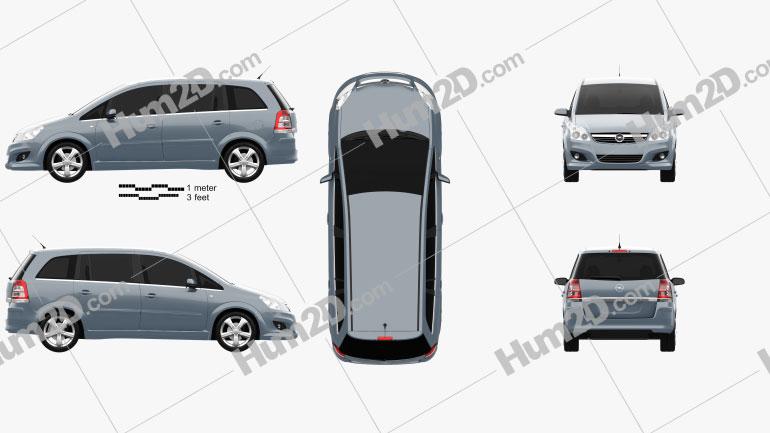 Opel Zafira (B) 2009 Clipart Image