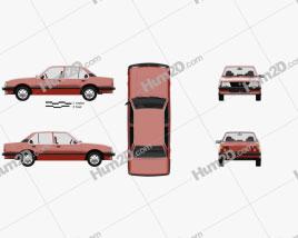 Opel Ascona sedan 1981 car clipart