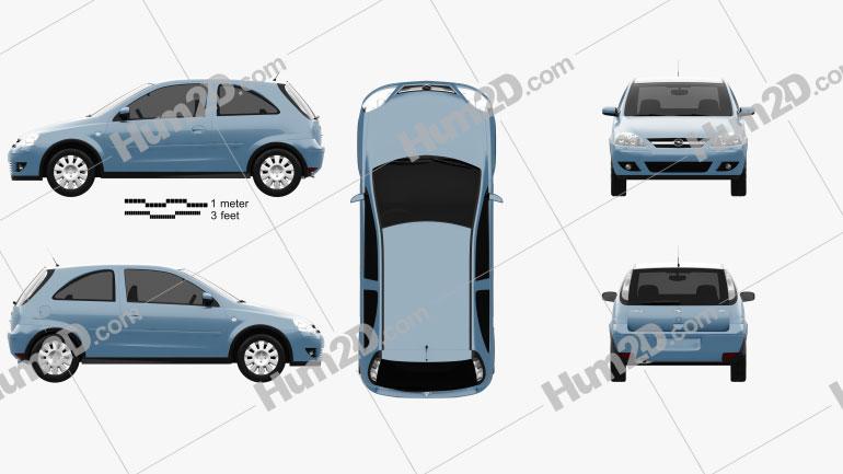 Opel Corsa 3-door 2003 car clipart