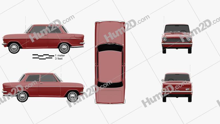 Opel Kadett 1962 car clipart