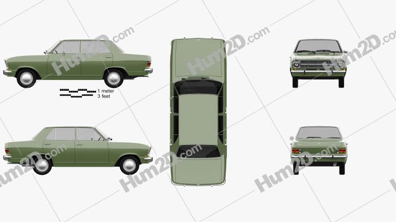 Opel Kadett 4-door sedan 1965 Clipart Image