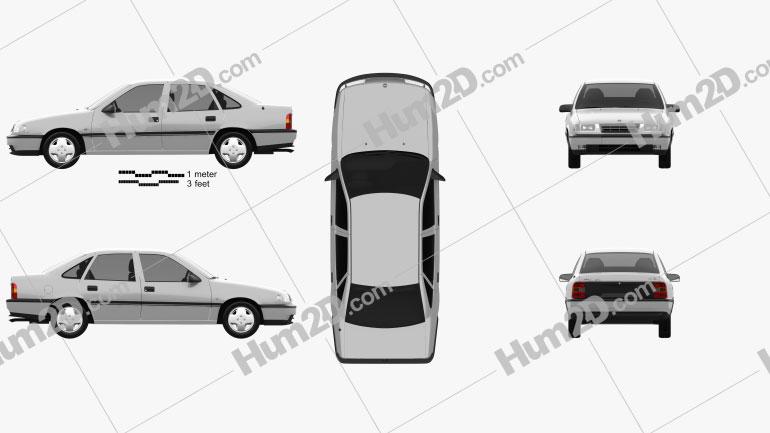 Opel Vectra sedan 1988 car clipart