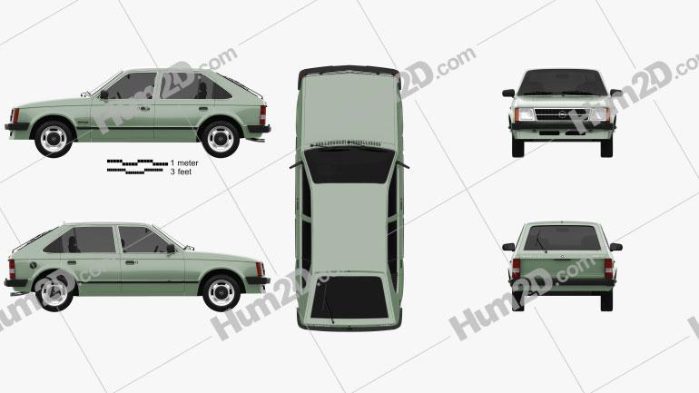 Opel Kadett de 5 portas 1979 car clipart