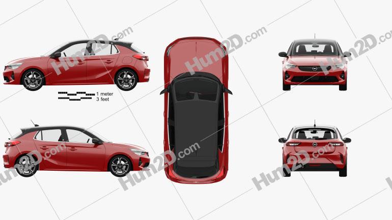 Opel Corsa with HQ interior 2020 car clipart