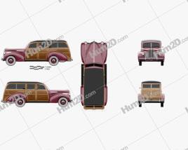 Packard 110 Station Wagon (1900-1483) 1941 car clipart