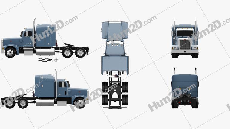 Peterbilt 377 Sleeper Cab Tractor Truck 1999 clipart