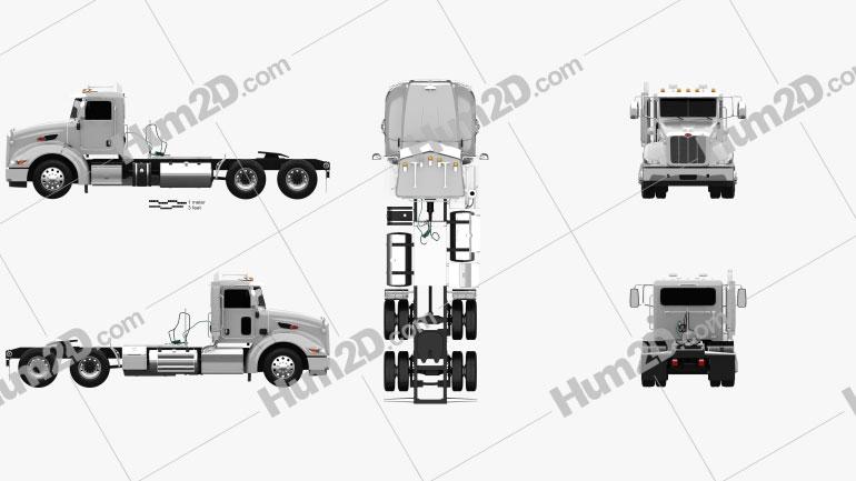 Peterbilt 384 Day Cab Tractor Truck 2014 clipart