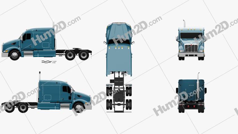 Peterbilt 387 Flattop Cab Tractor Truck 2007 Clipart Image