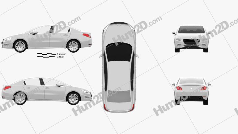 Peugeot 508 saloon 2011 car clipart