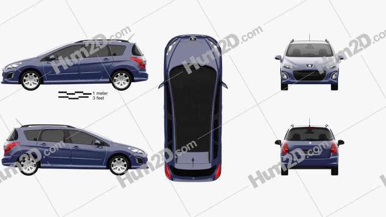 Peugeot 308 SW 2012 Clipart Image