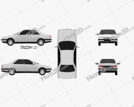 Peugeot 405 sedan 1987 car clipart