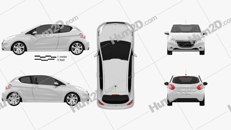 Peugeot 208 3-door 2013 car clipart