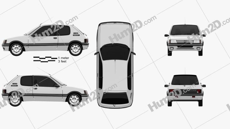 Peugeot 205 3-door GTI 1998 car clipart