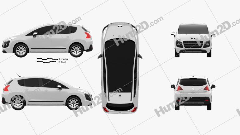 Peugeot 3008 Hybrid 2012 Clipart Image