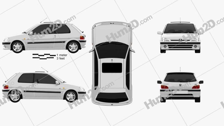 Peugeot 106 GTI 3-türig 1997 car clipart