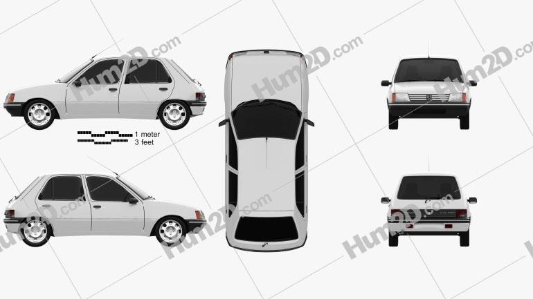 Peugeot 205 5-door 1998 car clipart