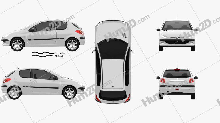 Peugeot 206 hatchback 3-door 2005 Clipart Image