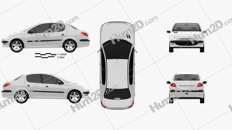 Peugeot 206 sedan 2010 Clipart Image