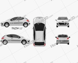 Peugeot 207 hatchback 3-door 2012 car clipart