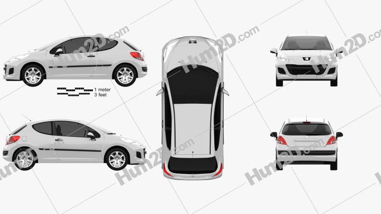 Peugeot 207 hatchback 3-door 2012 Clipart Image