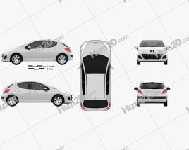 Peugeot 207 hatchback 5-door 2012 car clipart