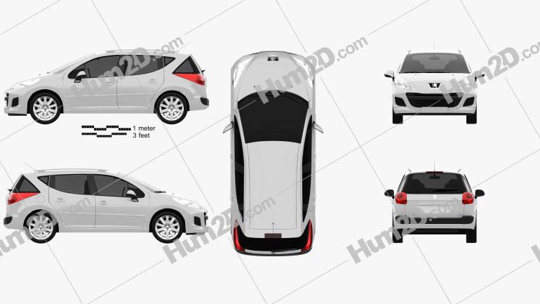 Peugeot 207 SW 2012 Clipart Image