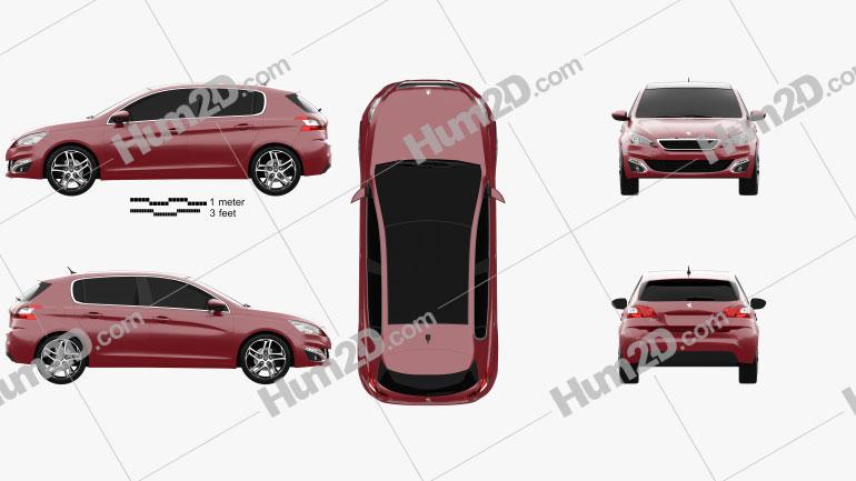 Peugeot 308 2014 Clipart Image
