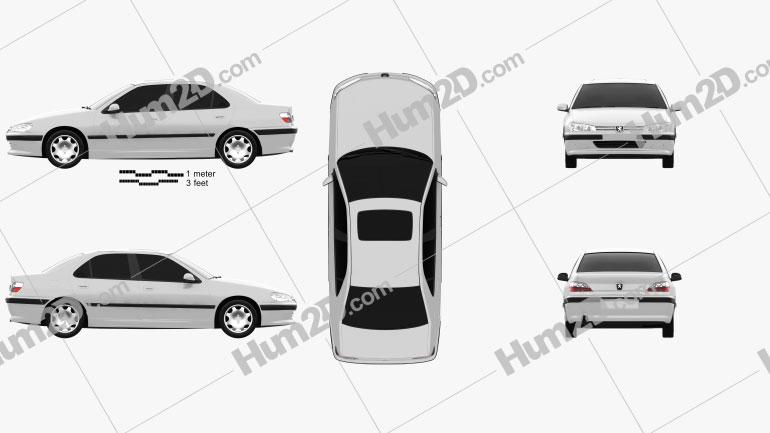 Peugeot 406 sedan 1995 Clipart Image