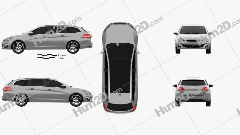 Peugeot 308 SW 2014 Clipart Image