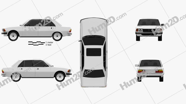Peugeot 305 sedan 1977 Clipart Bild