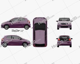 Peugeot 108 3-door 2014 car clipart