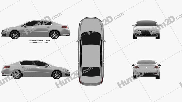 Peugeot 508 sedan 2014 car clipart