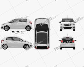 Peugeot 108 5-door 2014 car clipart