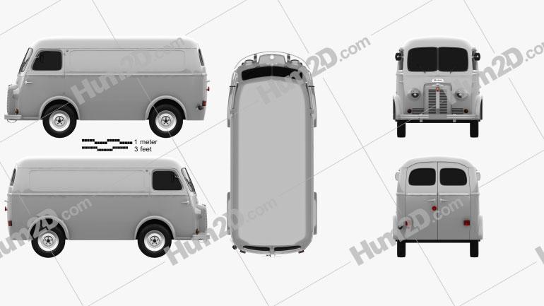Peugeot D3A camionette 1954 Clipart Image