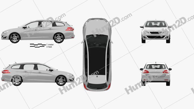 Peugeot 308 SW com interior HQ 2014 car clipart