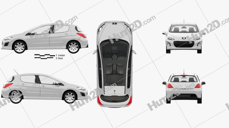 Peugeot 308 5-door with HQ interior 2011 Clipart Image