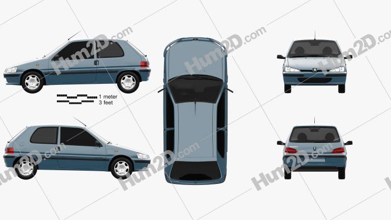 Peugeot 106 Electric 3-door 1993 Clipart Image