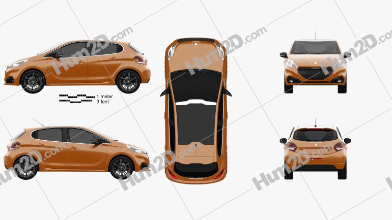 Peugeot 208 5-türig 2015 Clipart Bild